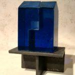 Cabanon bleu /verre et acier H13 L8,5cm