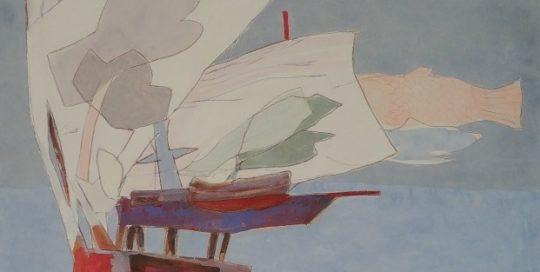 Chaise au vent, basse mer /tech mixte marouflé sur toile114x72cm