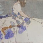 Robe de juin profil en bleu /tech mixte 50x73cm /collection particulière