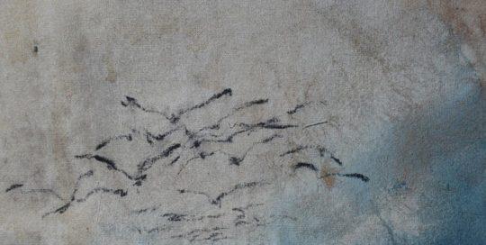 Paysage aux oiseaux 1 /tech mixte marouflée 72x38cm