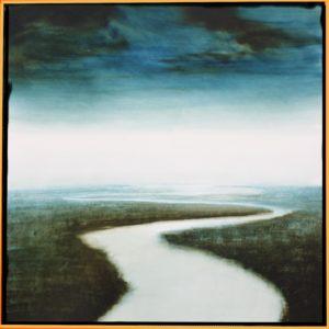 Promenade le long d'une rive..hier /glacis huile sur toile 40x40cm (hors caisse américaine))