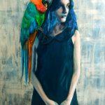 Adressez-vous à mon perroquet /acrylique sur toile 92x60cm