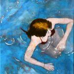 Her from above /technique mixte sur toile 80x40cm