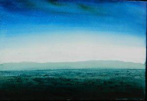 La ligne bleue N°4 /huile sur toile 39x45 cm