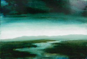 La ligne bleue N°5 /huile sur toile 39x45 cm