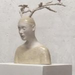 Le faune /grès partiellement émaillé, bois 23x23cm