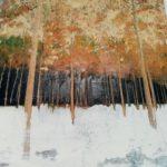 Les pins /tech mixte (photo, acryl, pigments..) sur bois /80x60cm