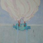 Maison et nuage /gouache-crayon/papier ciré 130x91cm