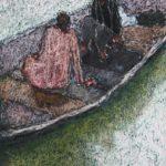 On the pond /acryl et pastel sur papier 18,5x13cm hors cadre