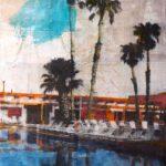 Palms pool /tech mixte sur toile 70x50cm