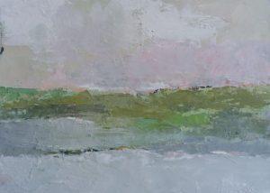 Paysage rose et gris /huile sur toile 27x22cm