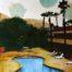 Pool view horizon /technique mixte sur toile 90x60cm