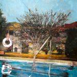 Poolside /photo et huile sur toile 50x61cm