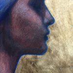 Profil /acryl, pastel et feuille d'or/bois 27x13cm hors cadre VENDU