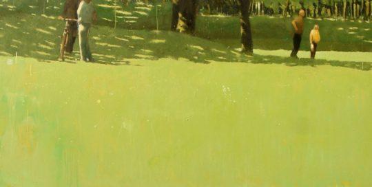 Rendez-vous au parc /huile sur toile 97x146cm + caisse américaine noire