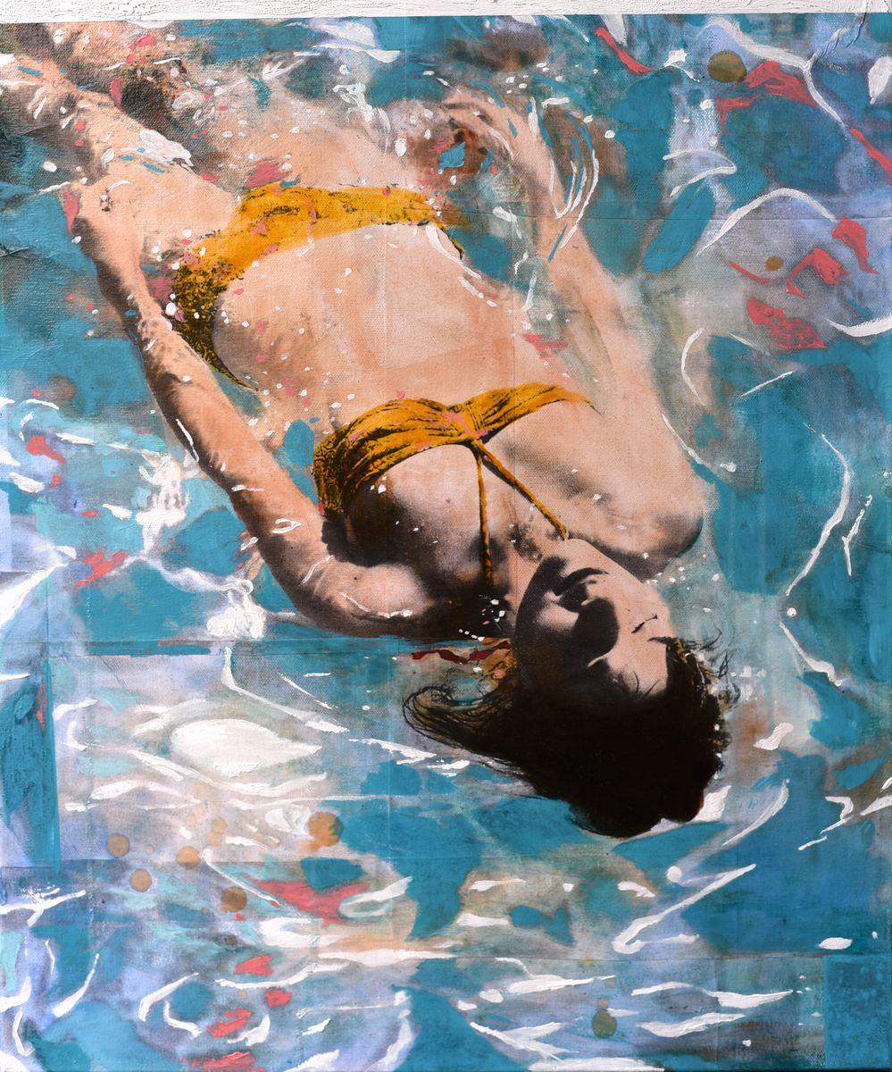 Sunbath joy /technique mixte sur toile 60x50cm