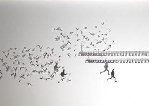 The race, les mouettes /photo impression sur plexiglas 20x45cm