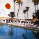 Two suns pool /tech mixte sur toile 100x70cm